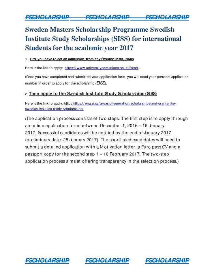 Sweden Masters Scholarship Programme Swedish Institute ...