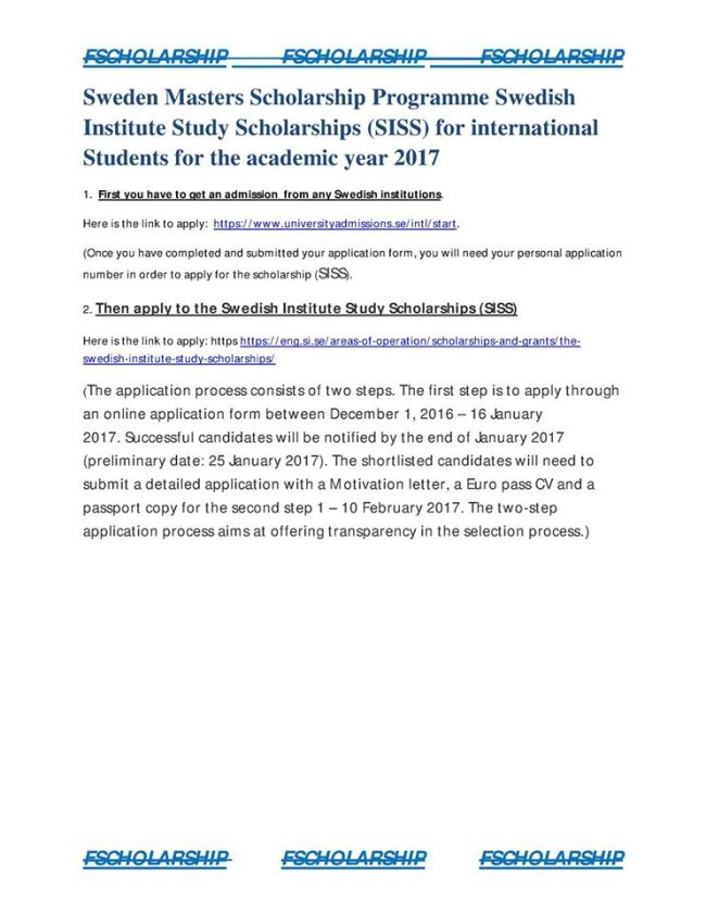 sweden masters scholarship programme swedish institute